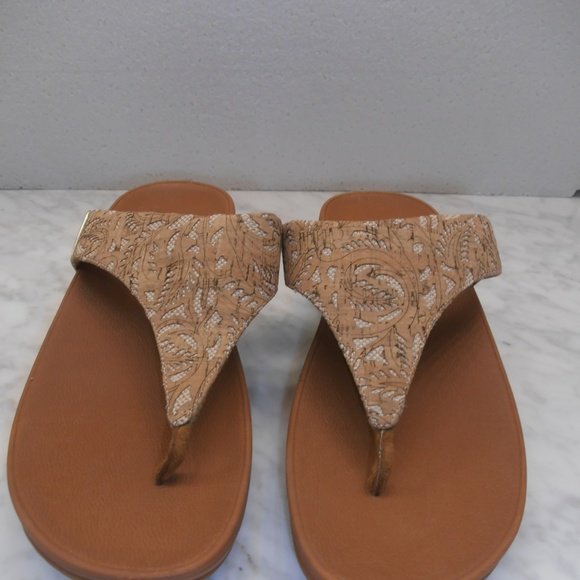 8cfcb0eed FitFlop Lulu 11 Gold Mirror Cork Toe thong sandals